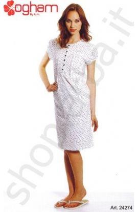Camicia da notte estiva cotone manica corta Ogham 24274 CORALLO