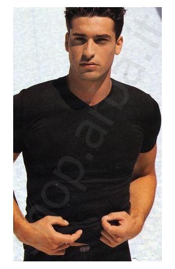 T-shirt uomo scollo a V microfibra Likos