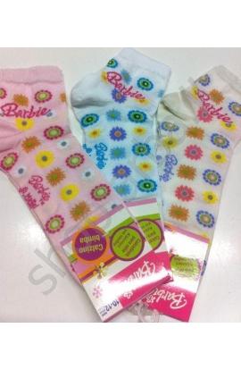 Calza corta Barbie fiori ricamati cotone 134B