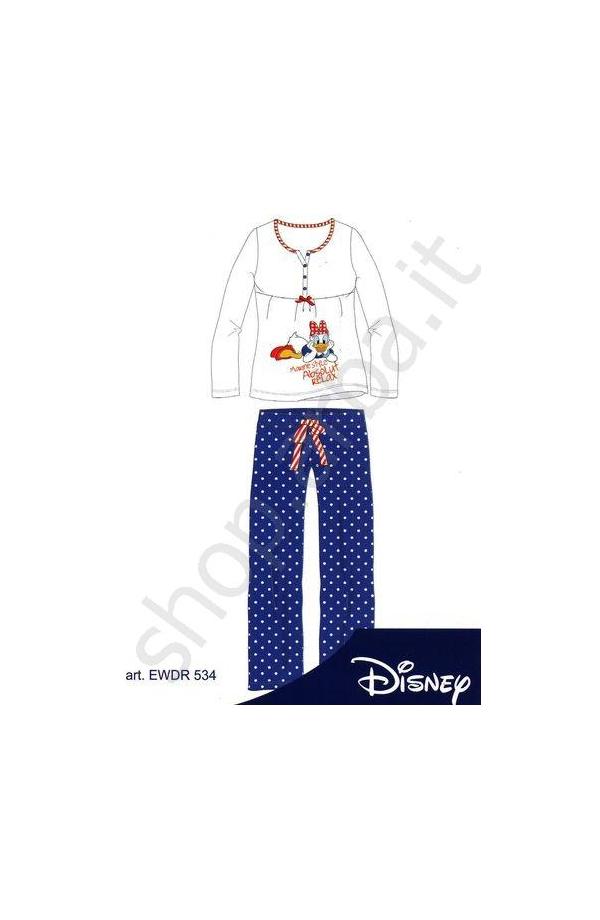 Pigiama Disney cotone primavera estate ragazza EWDR534 BIANCO/BLU