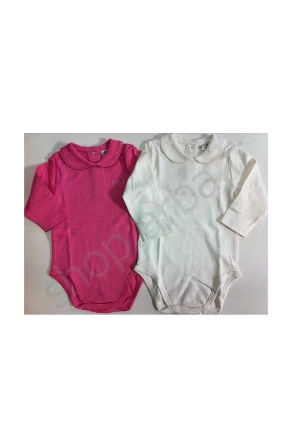Body manica lunga a polo 100% cotone per neonata rosa diamante