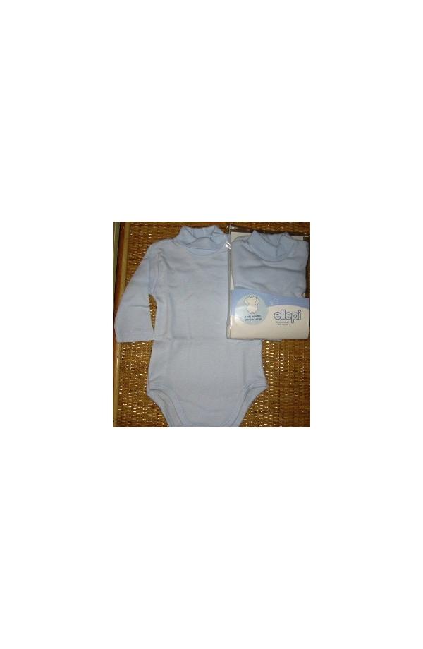 Body manica lunga a lupetto 100% cotone anallergico neonato azzurro