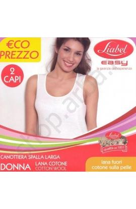2 canotte donna spalla larga lana/cotone Liabel 5110 D16