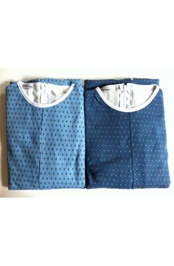 1000 Pigiamone Tutone maschile per anziani inverno medio peso cotone interlock con cerniera posteriore art. 1000
