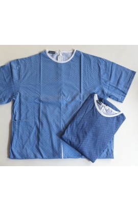 Tutone Estate IVA 4% Pigiamone maschile per anziani estivo mezza manica puro cotone con cerniera posteriore 1011