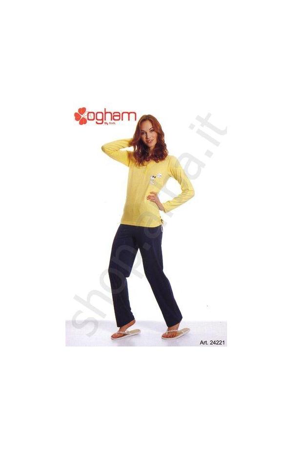 Pigiama estivo donna unito cotone Ogham 24221 ALBICOCCA
