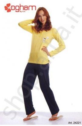 Pigiama estivo donna maglia e pantalone lungo 100% cotone Ogham 24221