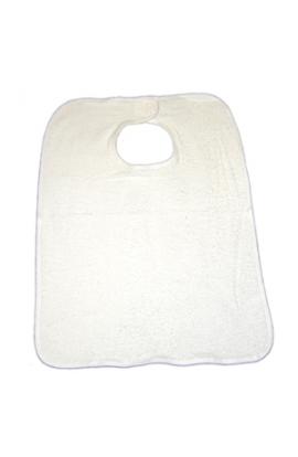 Bavaglio anziani con velcro bianco cotone 100% unisex BAV028/V