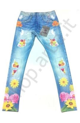Leggings per bimba stampati tipo jeans con fiori elasticizzati 11534
