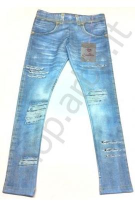 Leggings tipo jeans per bimba elasticizzati stampati 11629