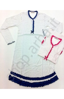 Camicia da notte cuoricini stampati estiva 100% cotone Sofia FUXIA