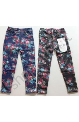 Leggings per bimba elasticizzati tipo jeans stampati con fiori 1632 misura 3/4 anni