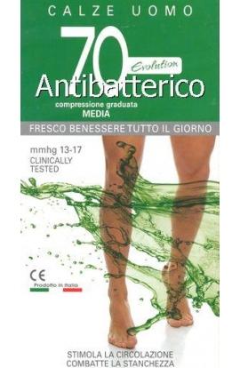 Calza riposo uomo 70 den Antibatterico antiodore gamba lunga compressione 13-17 mmHg