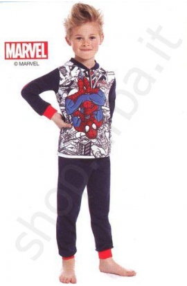 Pigiama bimbo in 100% cotone felpato SPIDERMAN MV16059