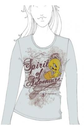 T-shirt donna manica lunga Looney Tunes WB 11801TW Titti GRIGIO