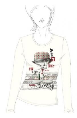 T-shirt donna manica lunga Looney Tunes WB 11801TW Titti BIANCO