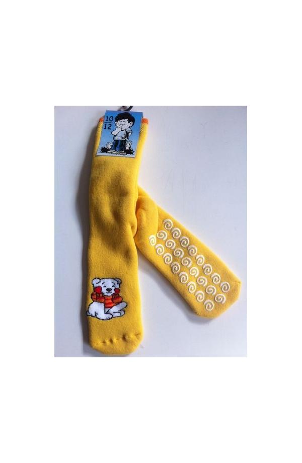 Calza antiscivolo bimbo spugna di cotone isolante orso giallo