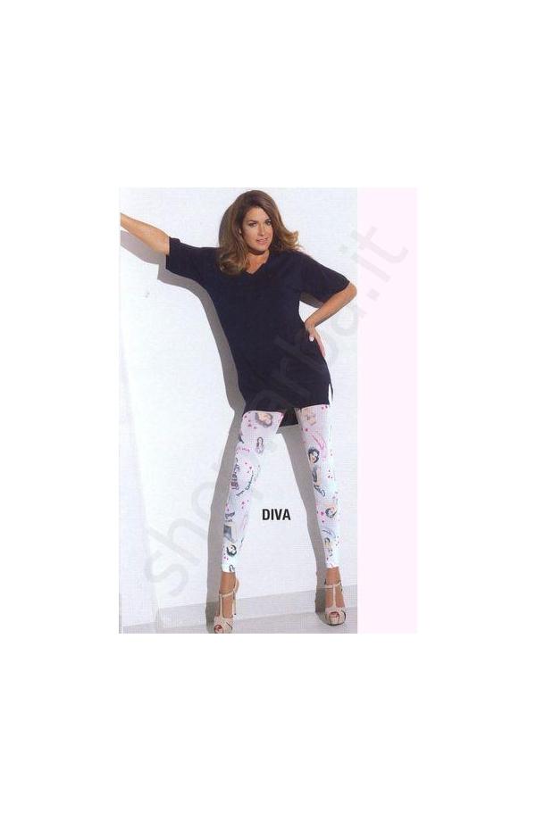Tinta Unita Capri Donna Diva-Jeans Leggings