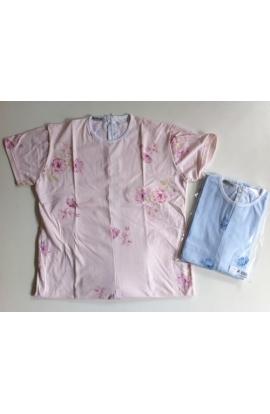 1012 Pigiamone Tutone femminile estivo per anziani cotone manica corta con cerniera posteriore fantasia fiori