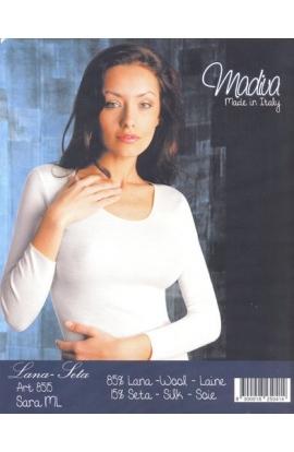 Maglia manica lunga intima donna 85% lana 15% seta Madiva Sara
