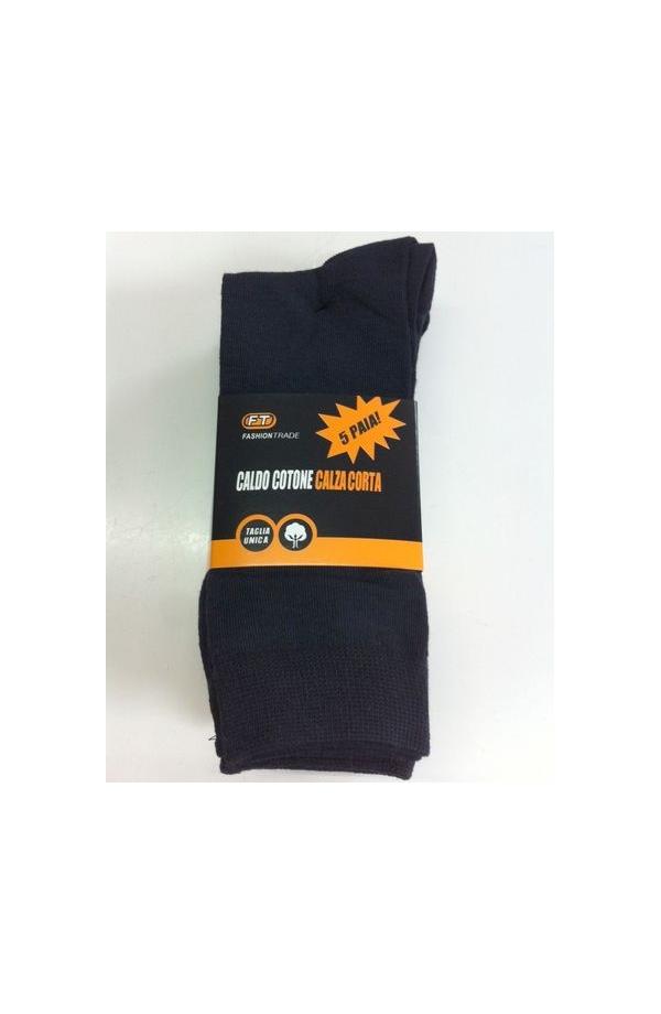 Calza uomo gamba corta caldo cotone colori assortito 5 paia FT V31