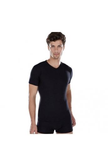 T-shirt uomo scollo V colorata manica corta cotone elasticizzato superleggero Liabel 93858 BLU