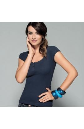 Maglia donna cotone 100% costina Fashion Antonella 63106 BLU