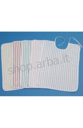 Bavaglio anziani bianco con righe colorate cotone 100% unisex