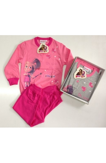 MASHA E ORSO Pigiama Bambina Lungo in felpina Cotone Art PL22013
