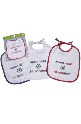 Bavetta 100% cotone per neonato con laccetto Milan, Juventus e Inter