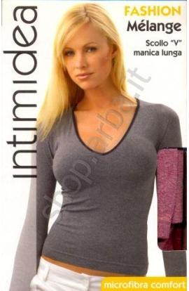 Maglia V manica lunga per donna melange scollo V microfibra Intimidea 210646