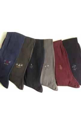 6 calze uomo gamba lunga Filo di Scozia cotone 100% ricamo posizionato