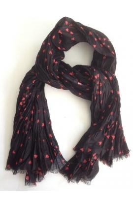 Sciarpa pashmina per donna stampata a cuori arancio su fondo nero 520032