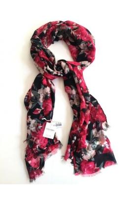 Sciarpa pashmina per donna stampata a rose su fondo nero SL23A