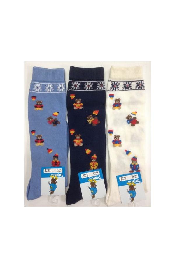 Calza gamba lunga in caldo cotone con orsetti ricamati Prisco Spot misura unica dal 35 al 40