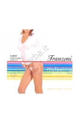 Manica lunga scollo a V per donna Seamless Microfibra aderente Franzoni