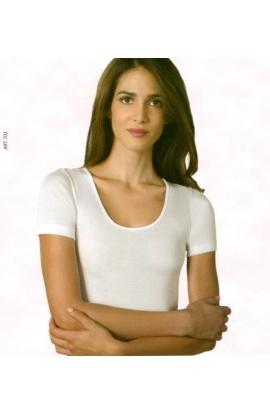 Maglia intima mezza manica per donna 100% cotone leggero mercerizzato anallergico 702