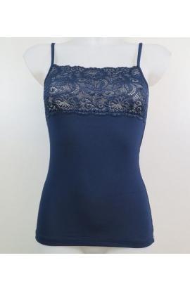 Top per donna in spallina stretta Modal con fascia in pizzo Textronic 4183