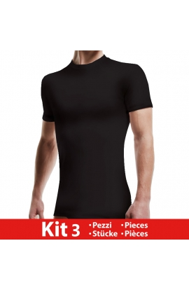 3 T-shirt giro collo uomo Liabel intimo/esterno bordo basso 4428 COLORI ASSORTITI