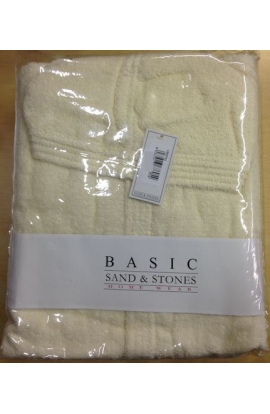 Accappatoio in spugna pesante con cappuccio unisex Sand & Stones 100% cotone PANNA
