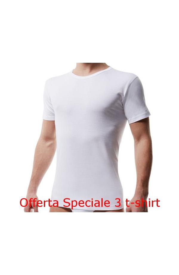 3 T-shirt giro collo uomo Liabel intimo/esterno bordo basso 4428 BIANCO