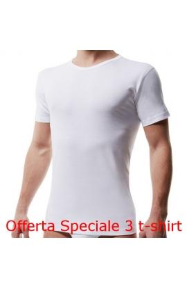 3 T-shirt giro collo uomo Liabel intimo bordo basso 4428 BIANCO