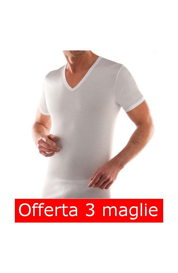 3 T-shirt uomo collo a V Liabel cotone 100% 3 pezzi