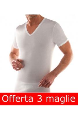 3 T-shirt uomo collo a V cotone 100% Liabel 4428 T53G confezione 3 pezzi BIANCO
