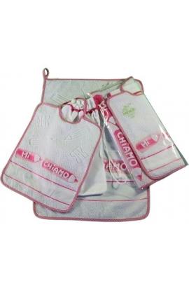 Completo asilo 3 pezzi asciugamano+bavetta+sacchetto da ricamare
