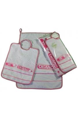 Completo asilo 2 pezzi salvietta asciugamano+bavetta da ricamare MATITE