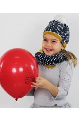 Completo per bimba con berretto con pompon e sciarpa ad anello jaquard SC978