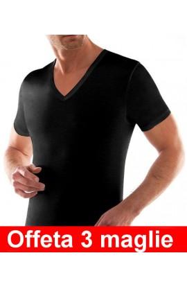3 T-shirt uomo collo a V cotone 100% Liabel 4428 T53G confezione 3 pezzi COLORATO