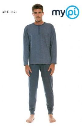 Pigiama per uomo MyPi 100% cotone manica lunga con taschino 1471