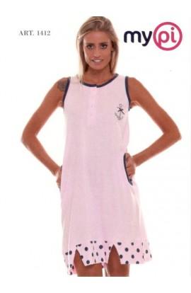 Camicia da notte estiva cotone spalla larga con balza 1412